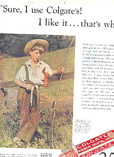1932 Boy Fishing Colgate Tickled Pink Ad