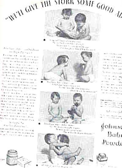 1932 Johnson Baby Powder Kissing Kids Ad (Image1)