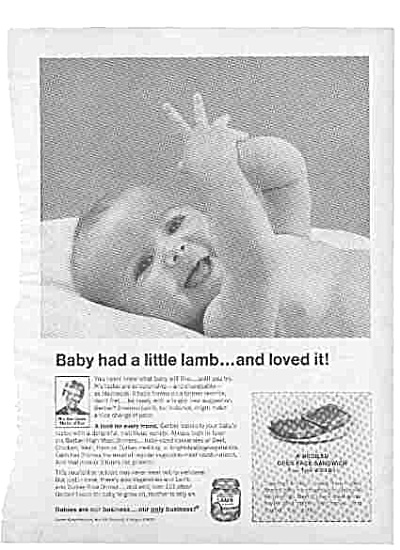 1968 Baby Had A Little Lamb Gerber Ad