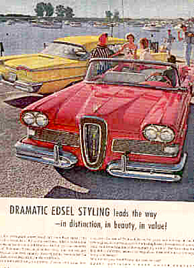 1958 Dramatic Edsel Styling Red/Yellow Car Ad (Image1)