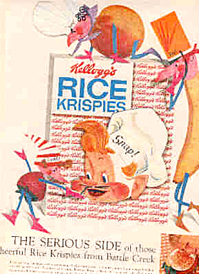 1958 Snap Crackle Pop Rice Krispies Ad
