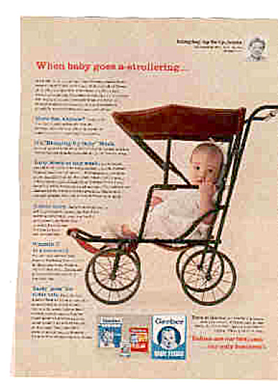 1961 Gerber Baby Food Old Fashionstroller Ad