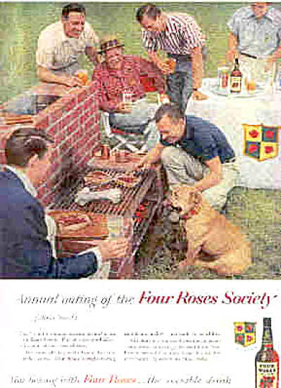 1958 Four Roses Men/Dog Barbeque Ad (Image1)