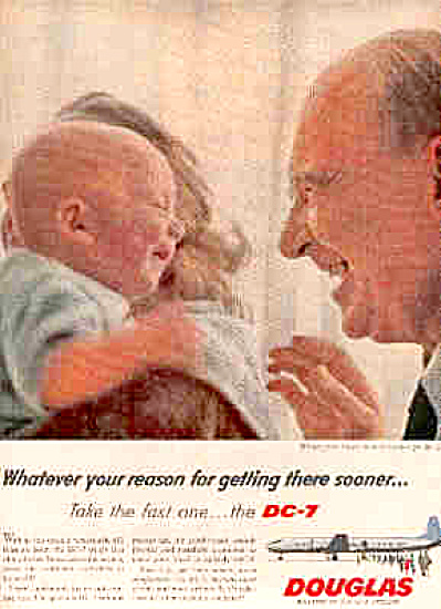 1958 Douglas DC-7 Man And Baby Ad (Image1)