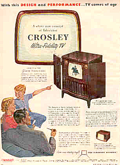 1950 Crosley Ultra-Fidelity TV Family Ad (Image1)