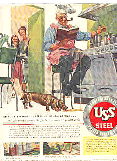 1948 USS Steel Man In Apron Cooking Dog Ad (Image1)