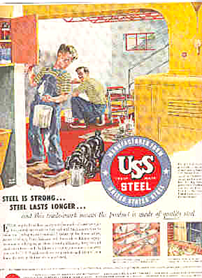 1953 USS Steel Man And Boy Painting AD (Image1)