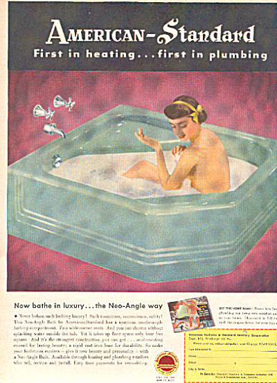 1950 American Standard Bathing Lady In Tub Ad (Image1)