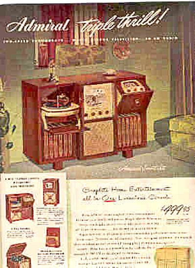 1948 Admiral Triple Thrill Tv/phono/radio Ad