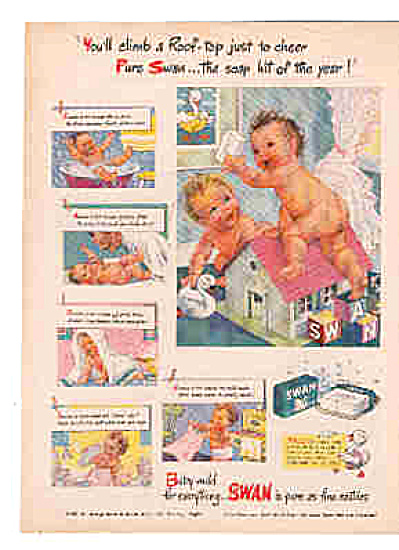 1944 Swan Soap Naked Nude CUTEST Baby Ad (Image1)