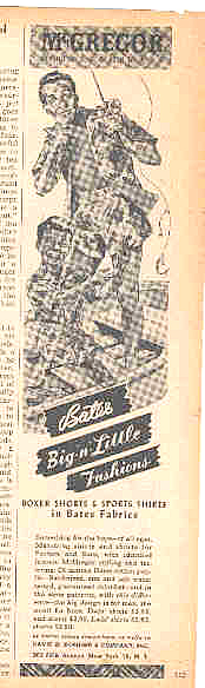 1944 Bates Mcgregor Man And Boy In Boxers Ad