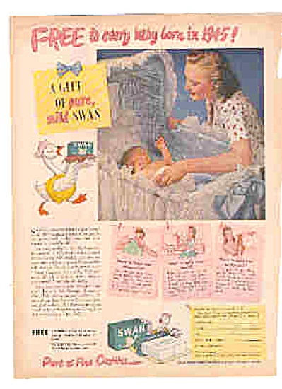 1945 Swan Soap Cute Baby In Bassinet Ad
