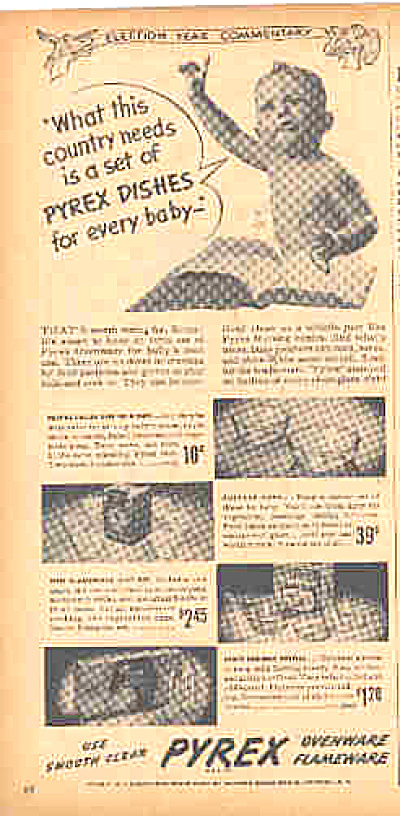 1944 Pyrex BABY DISHES AD - Bottles ++ (Image1)