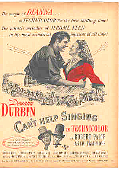 1945 Deanna Durbin Cant Help Singing Movie Ad (Image1)