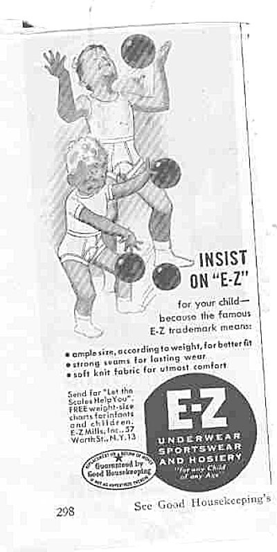 1949 Boys In E-z Underwear Ad