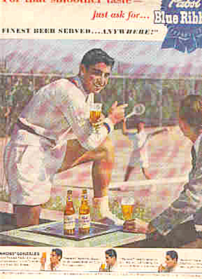 1950 Pancho Gonzales Pabst BlueRibbon Beer Ad (Image1)