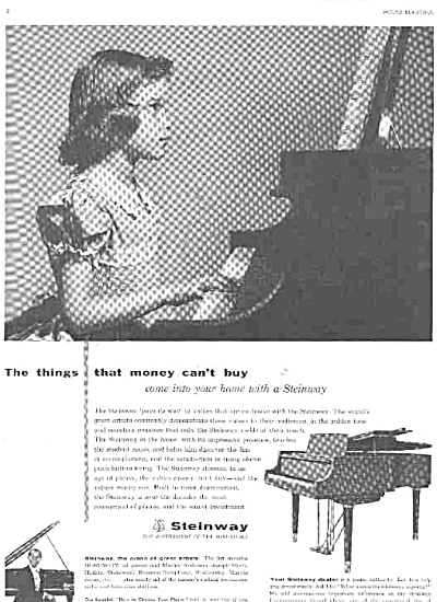 1956 Girl Playing Steinway Piano Ad