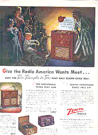 1947 Twin Triumphs In Tone Zennith Radio Ad