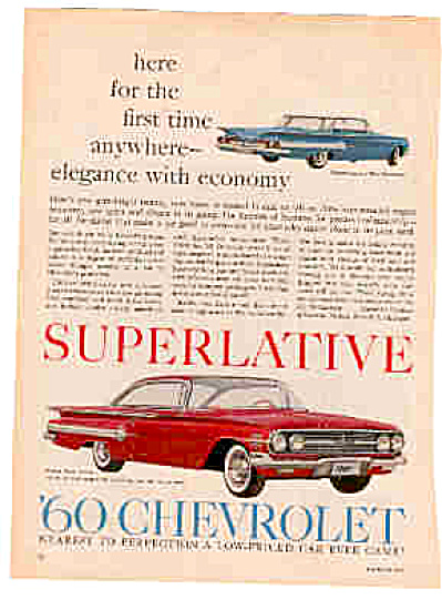 1960 Impala CHEVY Sports Coupe Chevrolet Ad (Image1)
