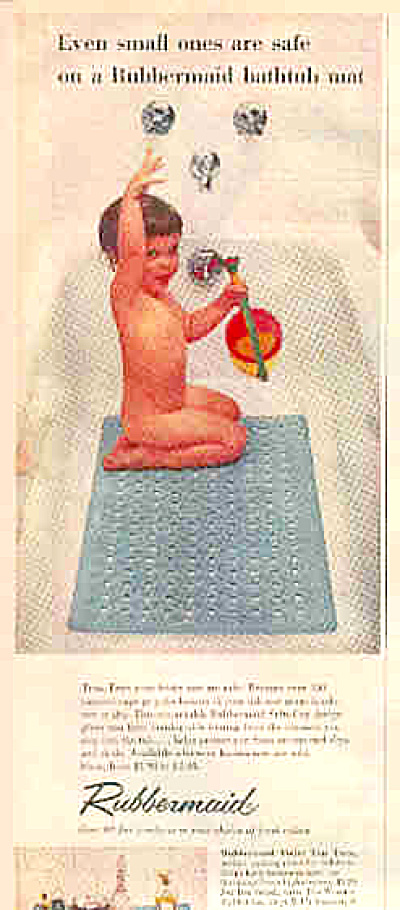 1956 Rubbermaid Bath Mats Cute Naked Kid Ad (Image1)