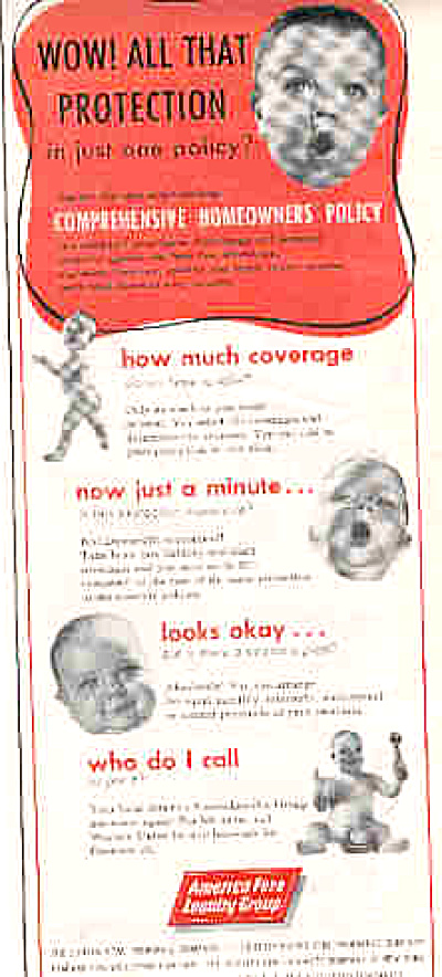 1958 America Fore Insurance Naked Baby Ad (Image1)