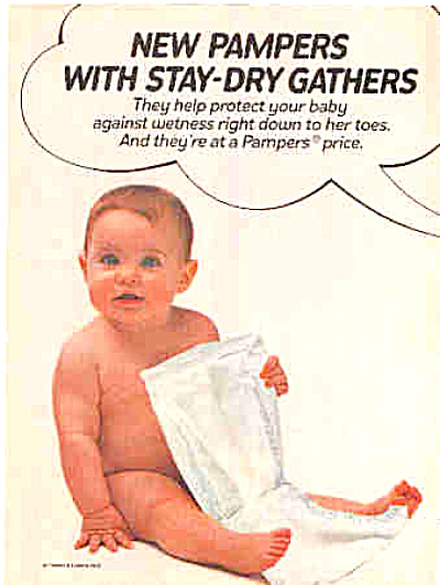 1982 Stay Dry Pampers Naked Baby Ad (Image1)