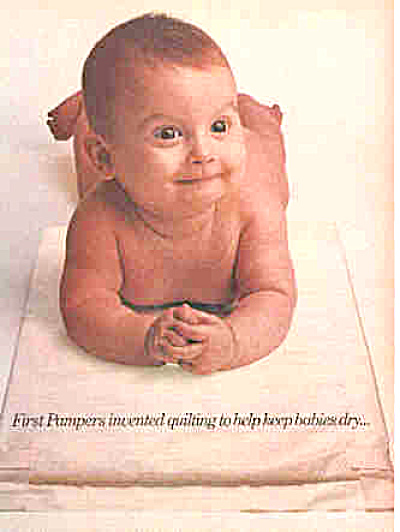 1981 Pampers Quilted Diapers Naked Baby Ad (Image1)