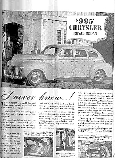 1940 Chrysler Royal Sedan VINTAGE Car  Ad (Image1)