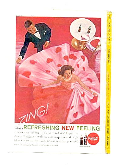 1961 Refreshing Coca-cola Pink Hearts Ad