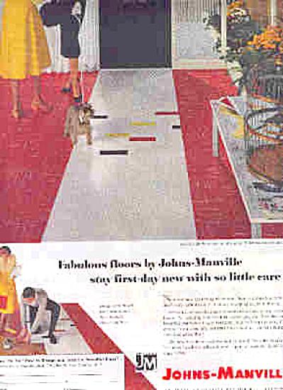 1958 Johns Manville Retro Tile Asbestos Ad (Image1)