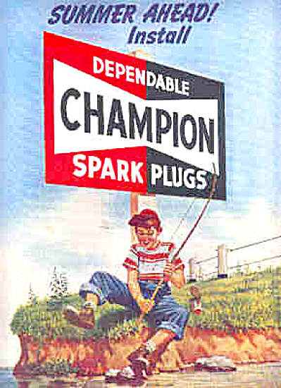 1951 Champion Spark Plugs Boy Fishing Ad (Image1)
