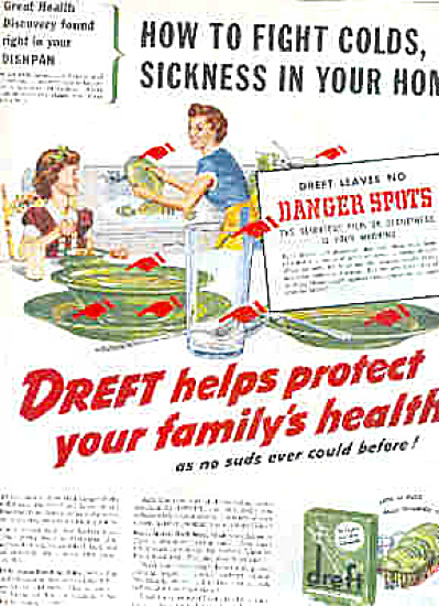 1949 Dreft Dishwashing Soap Retro Green Ad (Image1)