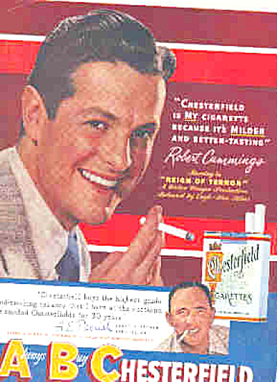 1949 Robert Cummings ACTOR Chesterfield Ad (Image1)