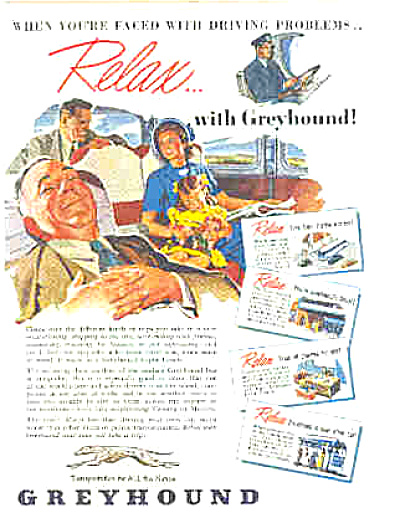 1948 Family Relaxing On Greyhound Bus Ad (Image1)