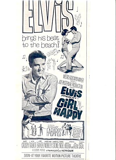 1965 Elvis Presley Girl Happy Movie Ad (Image1)