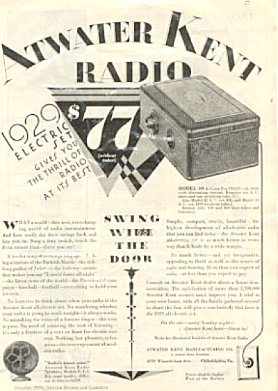 1928 Electric Atwater Kent Radio Ad Model 40 (Image1)