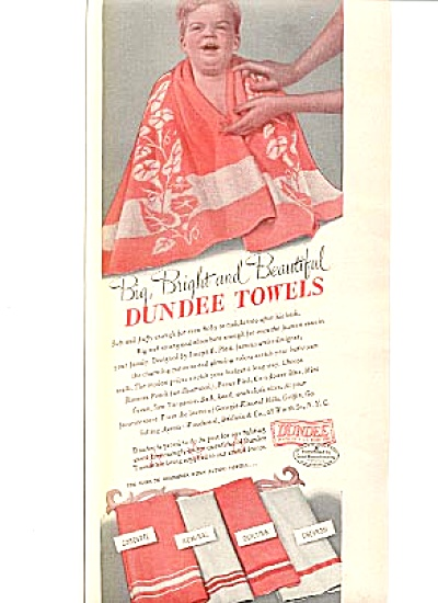 1942 Red-Head Baby Wrapped in Dundee Towel Ad (Image1)