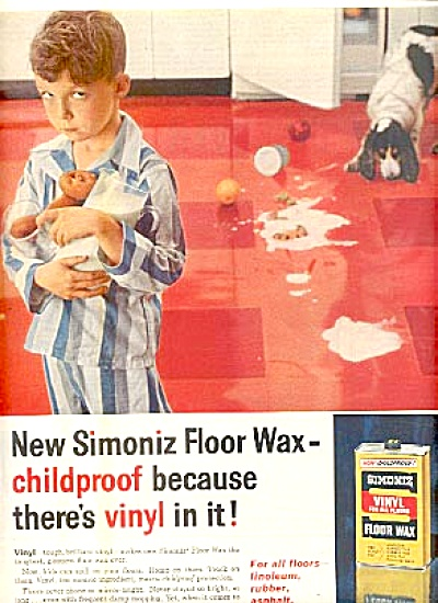 1958 Little Boy In P.J.s Dog  Simoniz Ad (Image1)