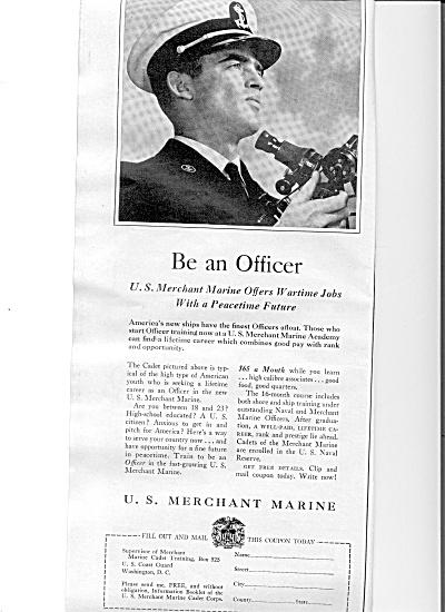 1942 U.S. Merchant Marine Officer Ad (Image1)