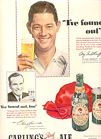 1950 Cary Middlecoff Carlings Red Cap Ale Ad