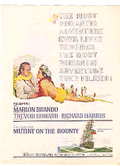 1962 Marlon Brando Mutiny On The Bounty Ad