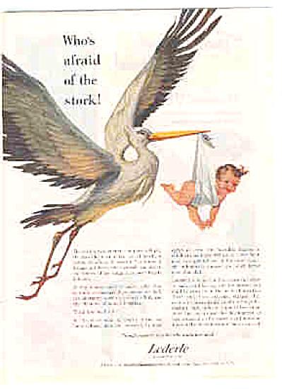 1951 Lederle Research Naked Baby Stork Ad (Image1)