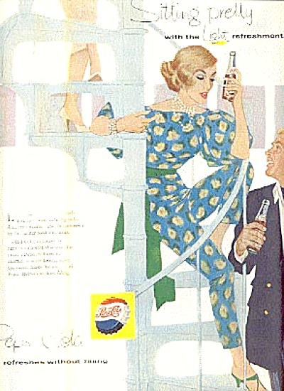 1958 Pretty Retro Lady Drinking Pepsi Ad (Image1)