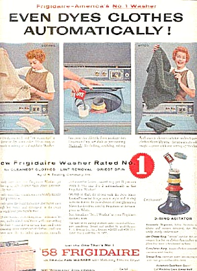 1958 Retro Looking Frigidaire Washer Dryer Ad (Image1)