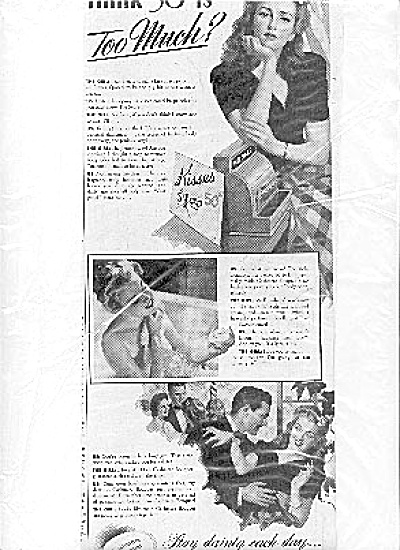 1943 Sexy Lady In Bathtub Kisses 50 Cents  Ad (Image1)