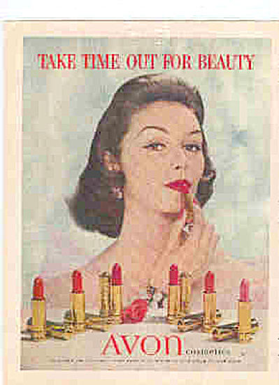 1956 Avon BEAUTIFUL MODEL Cosmetics  Ad (Image1)