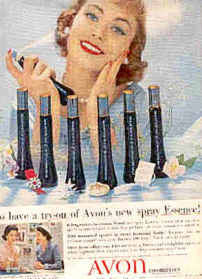 1958 Avon Cosmetics Spray Essence Ad FRAGRANC (Image1)