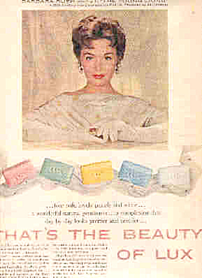 1958Barbara Rush Lux Beauty Soap Ad (Image1)