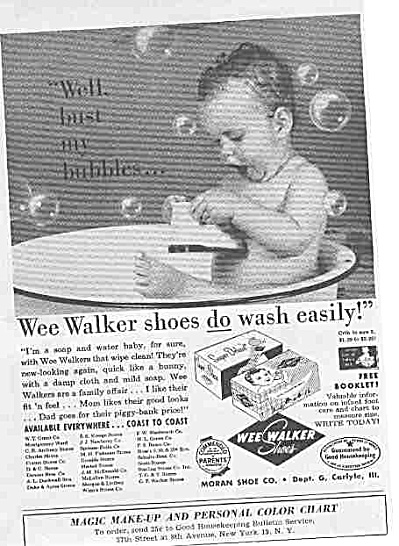 1958 Wee Walker Shoes Naked Baby InTub Ad (Image1)