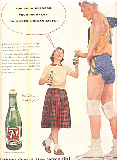 1957 Tall Basketball Player Seven-Up Ad (Image1)